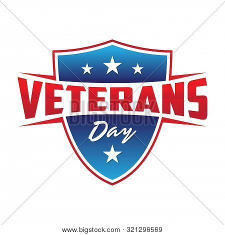 Modern Design Veterans Day Concept Background With Shield And Stars. Illustration Of Veterans Day Ve