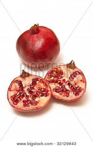 Pomegranate's isolated on a white studio background.