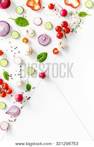 Sliced, Cut, Chopped Vegetables Mock-up On White Background Top View