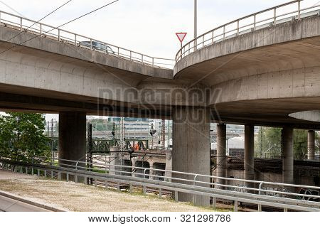 Curved Access To Flyover Bridge Over Railway Station In A City, Urban Architecture