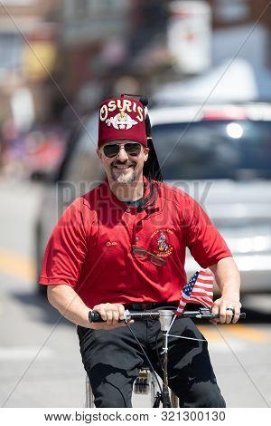 Buckhannon, West Virginia, Usa - May 18, 2019: Strawberry Festival, Member Of The Osiris Temple, Rid