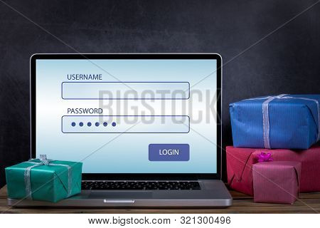 Username And Password To Login. Christmas Present Boxes On A Dark Background