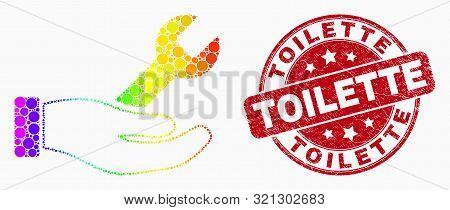 Pixelated Spectrum Repair Hand Mosaic Icon And Toilette Seal Stamp. Red Vector Rounded Distress Seal