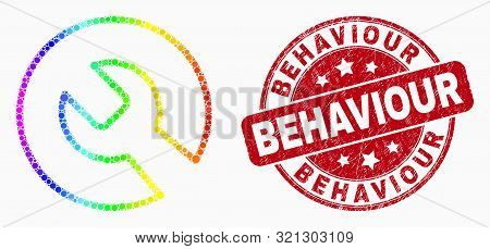 Dotted Bright Spectral Repair Wrench Mosaic Pictogram And Behaviour Stamp. Red Vector Rounded Grunge