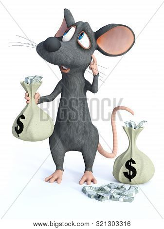 3d Rendering Of A Cute Cartoon Mouse Standing And Holding A Money Bag In His Hand While Scratching H