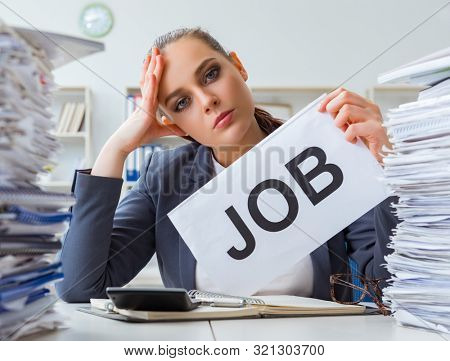 Businesswoman not coping with workload and resigning poster