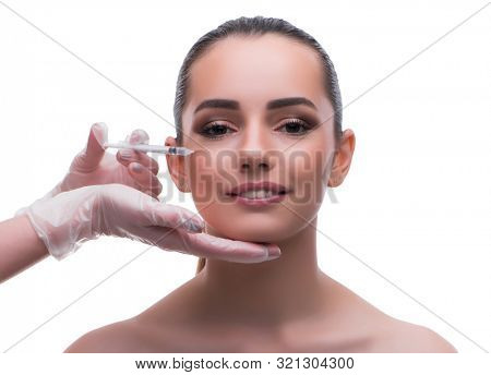 Woman in beauty concept having botex facelift poster