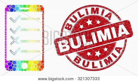 Dotted Bright Spectral Smartphone Task List Mosaic Icon And Bulimia Seal Stamp. Red Vector Rounded S