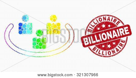 Pixel Spectral Social Ring Mosaic Pictogram And Billionaire Seal. Red Vector Round Grunge Seal Stamp