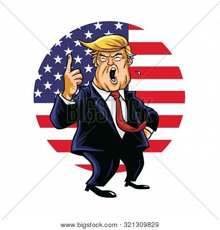 Donald Trump Shouting Vector Cartoon Drawing Caricature With Circle American Flag Background