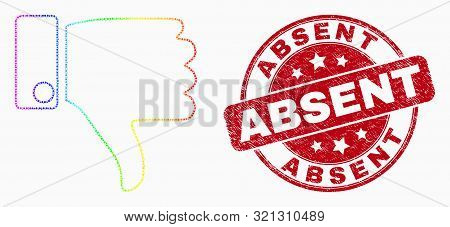 Pixel Spectrum Thumb Down Mosaic Pictogram And Absent Seal. Red Vector Rounded Scratched Stamp With
