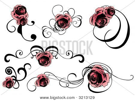 Set of design elements with floral patterns poster
