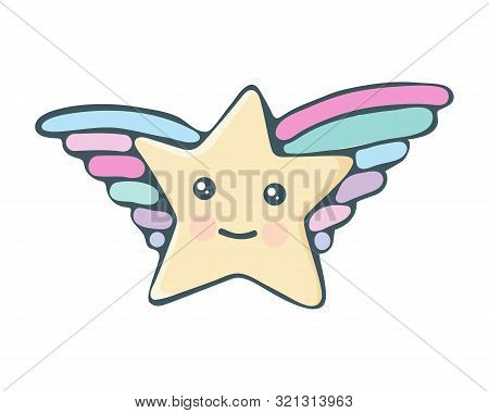 Kawaii Star Vector. Cute Cartoon Star With Wings And Smile. Cute Star Illustration For Kids. Design