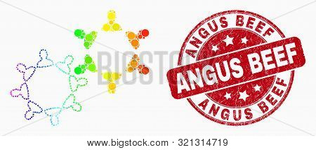 Dotted Bright Spectral User Collaboration Mosaic Pictogram And Angus Beef Seal Stamp. Red Vector Rou