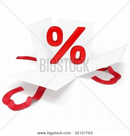 3D Open Gift Box With Percent Discount