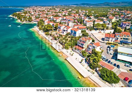 Brodarica Village Near Sibenik Beach And Coastline Aerial View, Dalmatia Region Of Croatia