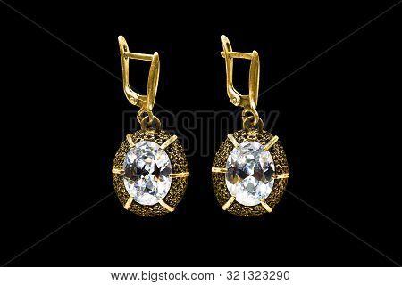 Vintage Large Diamonds Gold Earrings On Black Background