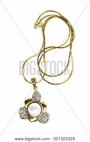 Elegant Gold Flower Pendant With Pearl And Crystals Isolated Over White
