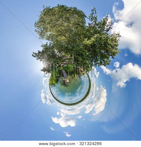Little Planet Transformation Of Spherical Panorama 360 Degrees. Spherical Abstract Aerial View In Fi