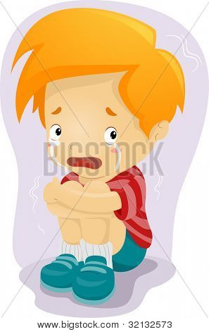 Illustration of a Kid Crying in Fear