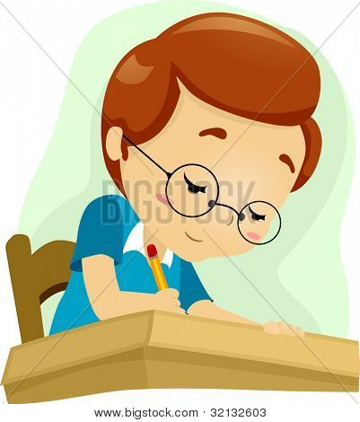 Illustration of a Geeky Student Studying