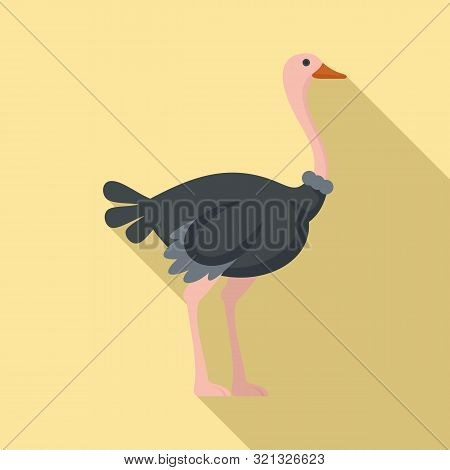 Ostrich Icon. Flat Illustration Of Ostrich Vector Icon For Web Design