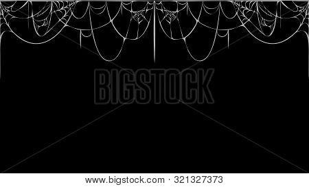 Horizontal Seamless Cobweb Banner On Black Background. White Torn Spider Web Silhouette On Black Cha