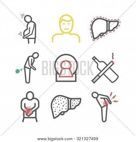 Cirrhosis. Symptoms, Treatment. Vector Signs For Web Graphics.