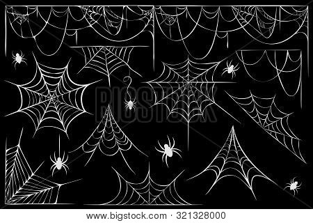 Big Set Of Cobwebs And Hanging Spiders Silhouette Isolated On Black. Line Art Of Spider Webs And Spi