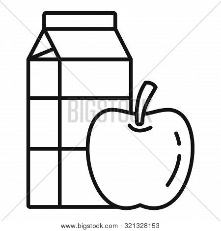 Apple Milk Pack Icon. Outline Apple Milk Pack Vector Icon For Web Design Isolated On White Backgroun