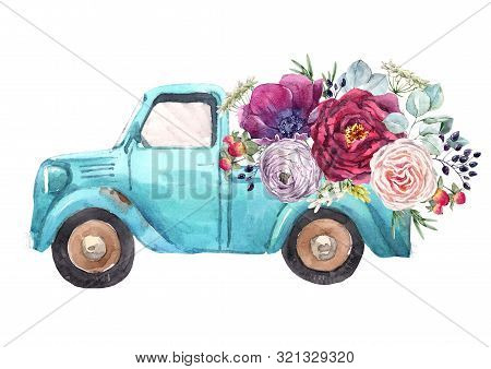 Beautiful Watercolor Car Pick Up With Flowers Illustration