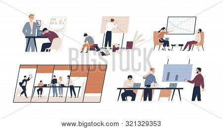 Business problem flat vector illustrations set. Profit drop, rating decrease, company bankruptcy concept. Financial trouble, bad leadership, burnout. Stressed office workers and unmotivated managers. poster