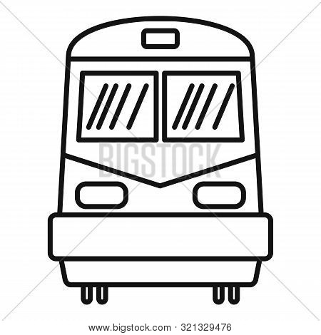 Front Train Icon. Outline Front Train Vector Icon For Web Design Isolated On White Background