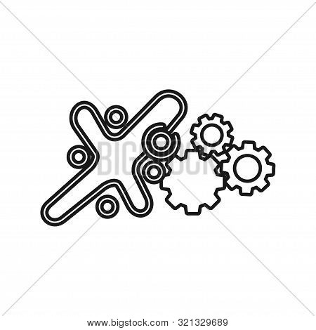 Gear Machine Commitment Teamwork Together Outline Logo Vector