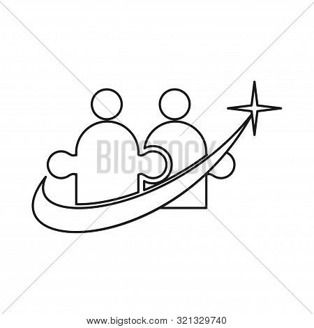 Star Swash Commitment Teamwork Together Outline Logo Vector