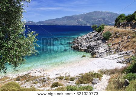 Wild Beach With Beautiful Sea And White Sand. Kefalonia, Greece
