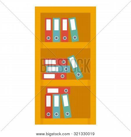 Office Shelf Folder Icon. Flat Illustration Of Office Shelf Folder Vector Icon For Web Design