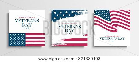 Usa Veterans Day Greeting Cards Set With United States National Flag. Honoring All Who Served. Unite
