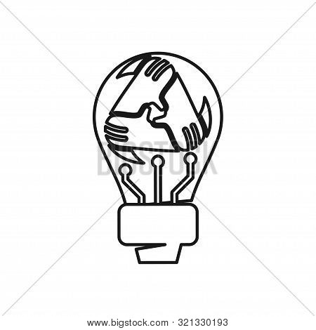 Bulb Idea Hand Commitment Teamwork Together Outline Logo