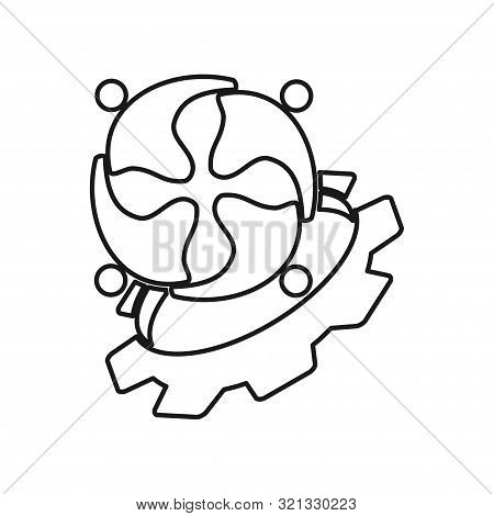 Machine Gear People Commitment Teamwork Together Outline Logo