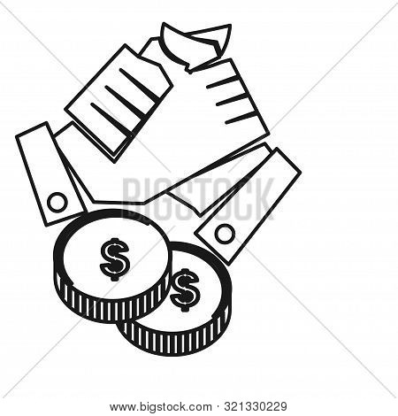 Hand Money Finance Commitment Teamwork Together Outline Logo