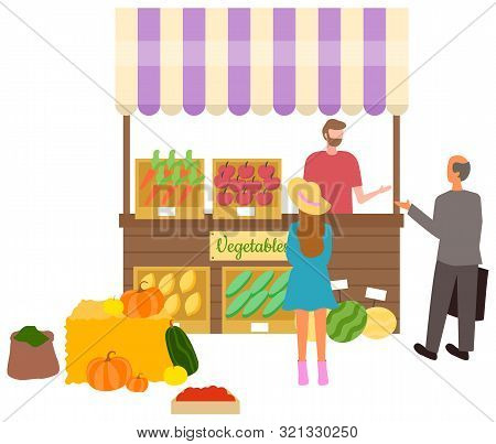 Salesperson With Vegetable And Fruits On Shelves Vector, Isolated Stall Tent With Carrots And Pumpki