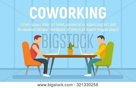Guys Coworking Concept Banner. Flat Illustration Of Guys Coworking Vector Concept Banner For Web Des