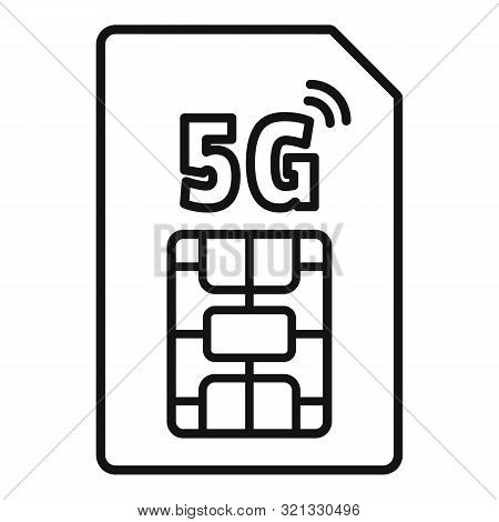 5g Phone Card Icon. Outline 5g Phone Card Vector Icon For Web Design Isolated On White Background