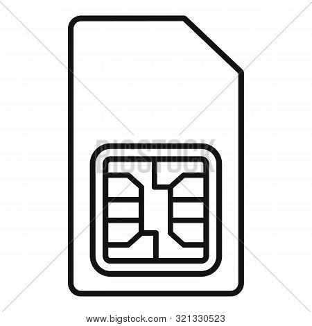 Phone Sim Card Icon. Outline Phone Sim Card Vector Icon For Web Design Isolated On White Background