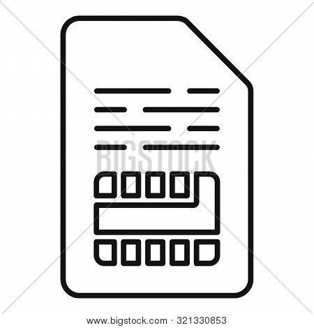 Cellular Sim Card Icon. Outline Cellular Sim Card Vector Icon For Web Design Isolated On White Backg