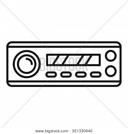 Compact Car Audio Icon. Outline Compact Car Audio Vector Icon For Web Design Isolated On White Backg