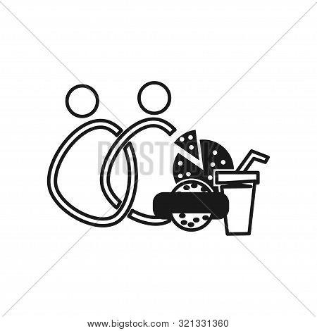 Drink Food People Commitment Teamwork Together Outline Logo