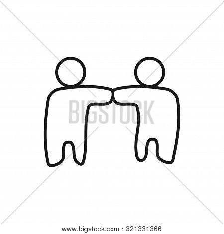 Friend Relationship Commitment Teamwork Together Outline Logo