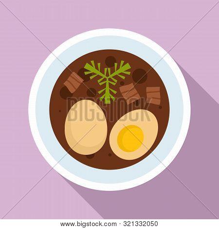 Boiled Egg Thai Food Icon. Flat Illustration Of Boiled Egg Thai Food Vector Icon For Web Design